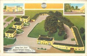 Wytheville Virginia~Art Deco Spring Court Motel~Aerial View~1940s Roadside Linen