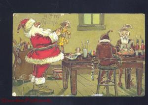 A MERRY CHRISTMAS SANTA CLAUS RED ROBE ELF ELVES ANTIQUE VINTAGE POSTCARD NY