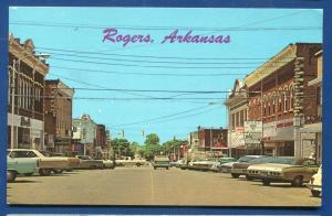 Rogers Arkansas ar Street scene old cars chrome postcard
