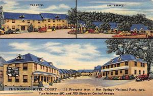 C34/ Hot Springs National Park Arkansas Postcard Linen 3View Romer-Hotel Court