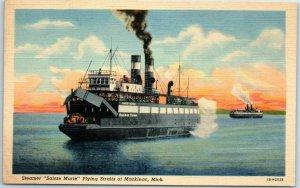 1940s Michigan Postcard Steamer SAINTE MARIE, Plying Straits of Mackinac Linen