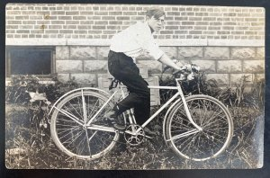 Mint USA Real Picture Postcard Vintage Bike Bicycle & Rider