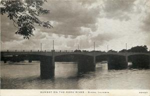 Dixon Illinois~Sunset On The Rock River~Bridge~1940s Sepia~CR Childs Postcard