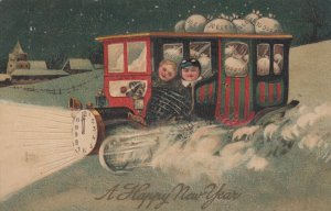 NEW YEAR, 1909 ; Kids in an Car full of Money in snow # 1 , PFB 9502
