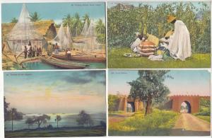 Lot 4 vintage postcards LAGOS Nigeria ethnic life fishing village hausa pedlars