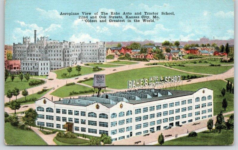 Kansas City MO~Water Tower~Birdseye~Rahe Auto & Tractor School~22nd & Oak~c1910