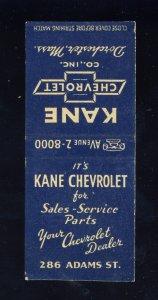 Dorchester, Massachusetts/Mass/MA Match Cover, Kane Chevrolet