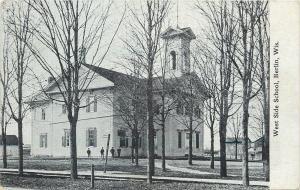 Berlin Wisconsin~West Side School~Boys Outside~Barns~1910 B&W Postcard