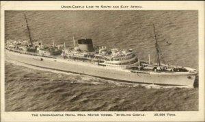 Union Castle Royal Mail Steamship Ship Postcard STIRLING CASTLE