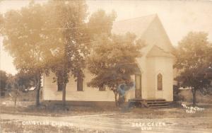 F22/ Deer Creek Oklahoma RPPC Postcard c1910 Christian Church