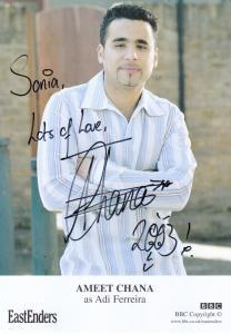 Ameet Chana as Adi Ferreira BBC Eastenders Hand Signed Cast Card Photo