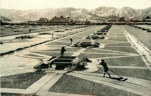Japan Salt Field Coast Inland Sea Seto 1950s RPPC Photo Postcard 6423