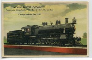 Pennsylvania Railroad Train Century of Progress Chicago IL 1933c postcard