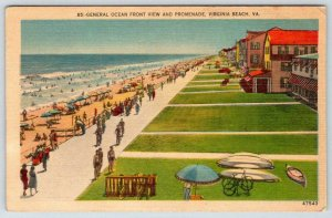 VIRGINIA BEACH VA*GENERAL OCEAN FRONT VIEW & PROMENADE*ENNIS PAPER CO NORFOLK