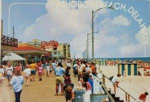 Rehoboth Beach Delaware DE Boardwalk Beach Vtg Postcard Dolles Atlantic Sands