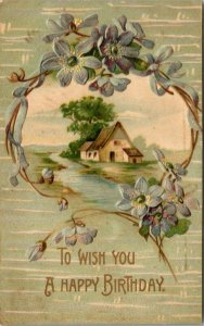 WISH YOU A HAPPY BIRTHDAY - EMBOSSED -  FARM SCENE - FLOWERS - VINTAGE POSTCARD