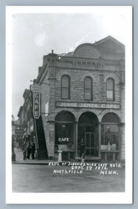 NORTHFIELD MN JESSE JAMES CAFE BUILDING VINTAGE REAL PHOTO POSTCARD RPPC