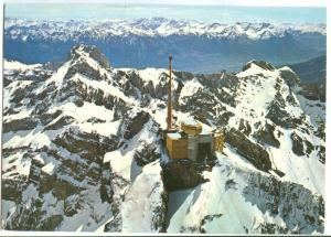 Switzerland, Flugaufnahme Santis, Bergstation mit Altmann, 1986 used Postcard