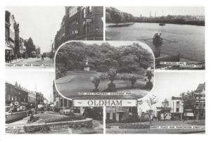 Oldham Postcard Multi View c1950 Lancashire Reproduction Card Q52