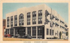 C34/ Jonesboro Arkansas AR Postcard Linen Hotel Noble Automobiles