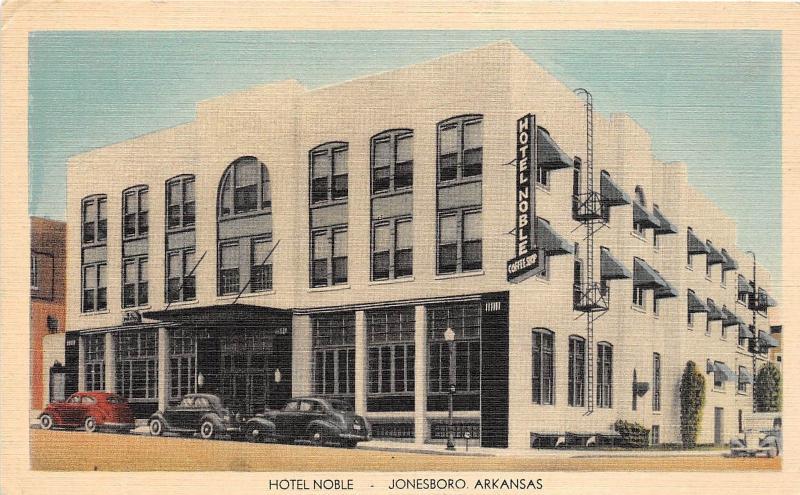 C34 Jonesboro Arkansas Ar Postcard Linen Hotel Le Automobiles