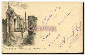 Old Postcard Door And Fosses St Jaques 1587