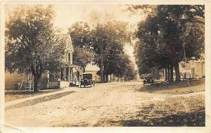 Webbs Mills Casco ME Dirt Street Store Old Cars 1920 Real Photo Postcard