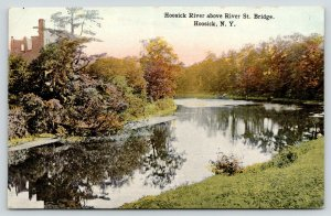 Hoosick New York~Hoosick River above River Street Bridge~Building~1915 Postcard