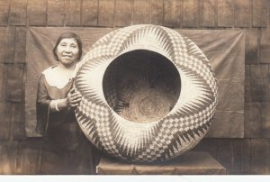 RP; YOSEMITE, California, 1910s; Indian Woman with woven basket #2