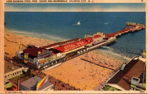 New Jersey Atlantic City View Showing Steel Pier Ocean and Boardwalk 1940