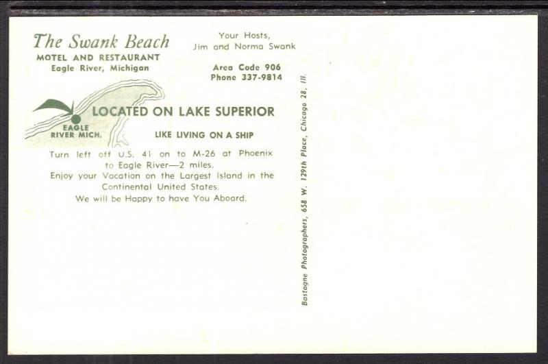 The Swank Beach Motel and Restaurant,Eagle River,MI