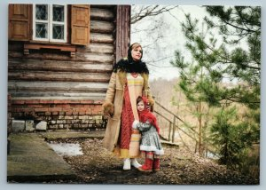 LITTLE GIRL with Mom Russian Peasant House Ethnic Folk Tree New Postcard