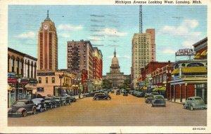 Michigan Lansing Michigan Avenue Looking West 1948 Curteich