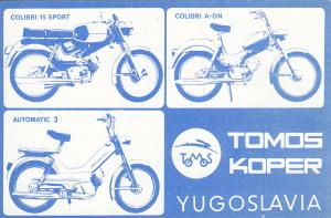 Yugoslavia Tomos Koper Colibri motorcycles advertising QSL Radio card YU3TFO