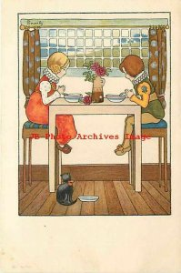 Millicent Sowerby, Dondorf No 154, Children Praying Before Eating, Black Cat