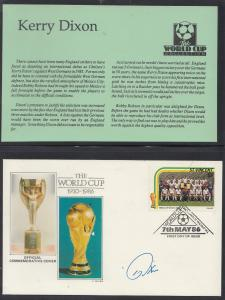 Kerry Dixon Chelsea Star Football World Cup 1986 Rare Hand Signed FDC Stamp Set
