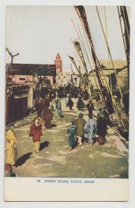 JAPAN TOKYO STREET SCENE c1906 vintage postcard