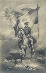 WW1 PATRIOTIC VITTORIO EMANUELE III A CAVALLO SOLDATO FRA I SOLDATI D'ITALIA