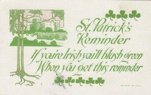 ST. PATRICK DAY, PU-1920; Blarney Castle, Clovers