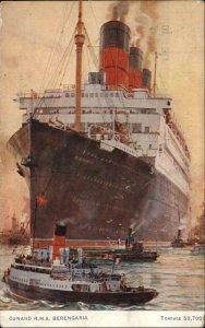 Cunard Line Steamship RMS Berengaria & Tugs 1925 PAQUEBOT CANCEL Postcard