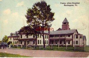 FANNY ALLEN HOSPITAL, BURLINGTON, VT 1912 vintage auto, people on front porch