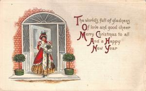 Victorian Lady Sends Wishes From Porch: Merry Christmas & A Happy New Year~L&E