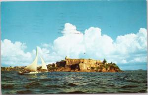 Greetings from Puerto Rico - Morro Castle with sailboat - Posted 1968
