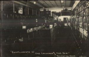 Judaica - Kalkaska MI Store Interior IRISHMAN & THE JEW c1910 RPPC Postcard