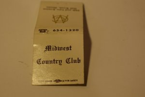 Midwest Country Club Pak Brook Illinois Advertising 20 Strike Matchbook Cover