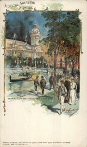 1904 St. Louis World's Fair Night Illumination on Lagoon Postcard