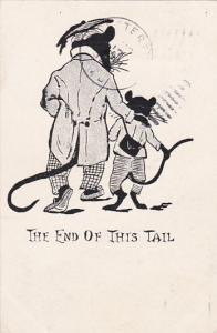 The end of this tail, Teacher mouse walking with his student, PU-1906