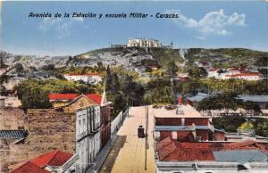 CARACAS VENEZUELA AVENIDA de la ESTACION y ESCUELA MILLITAR POSTCARD 1923