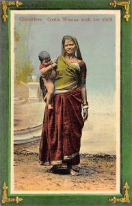 India Native Characters. Coolie Woman with her child, Traditional Dress clothing