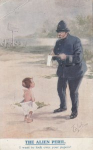 T GILSON ; The Alien Peril , Naked boy & Policeman , 1914